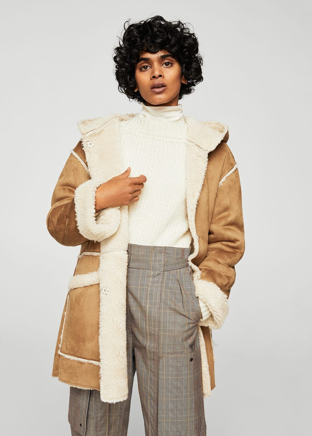 Faux shearling-lined coat | MANGO