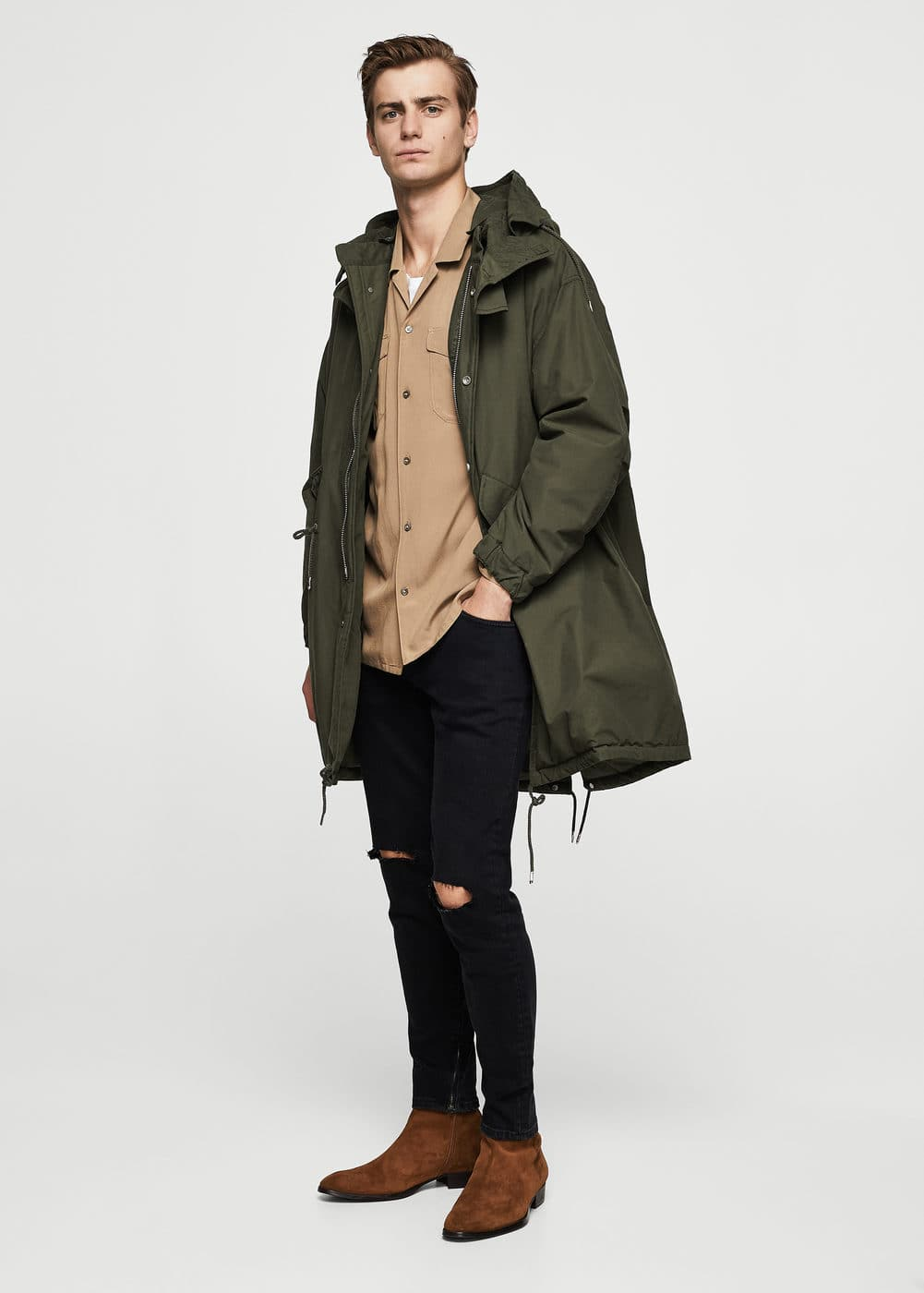 Faux shearling-lined quilted parka | MANGO MAN