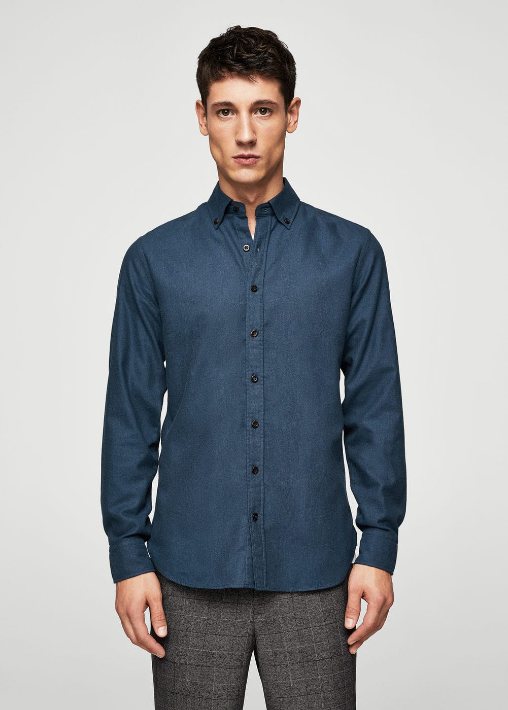 Slim-fit flannel shirt | MANGO MAN