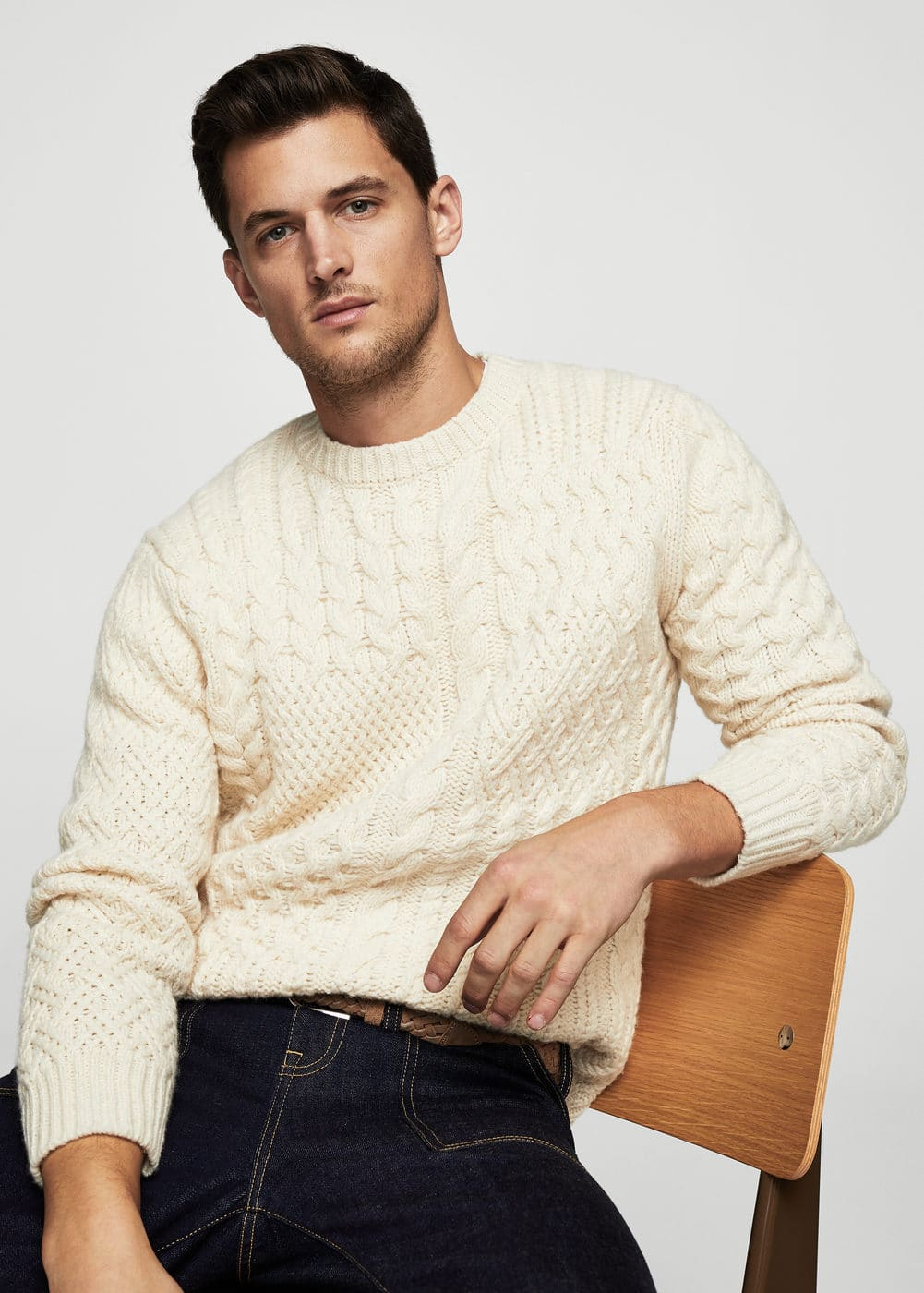 Cable-knit wool-blend sweater | MANGO MAN