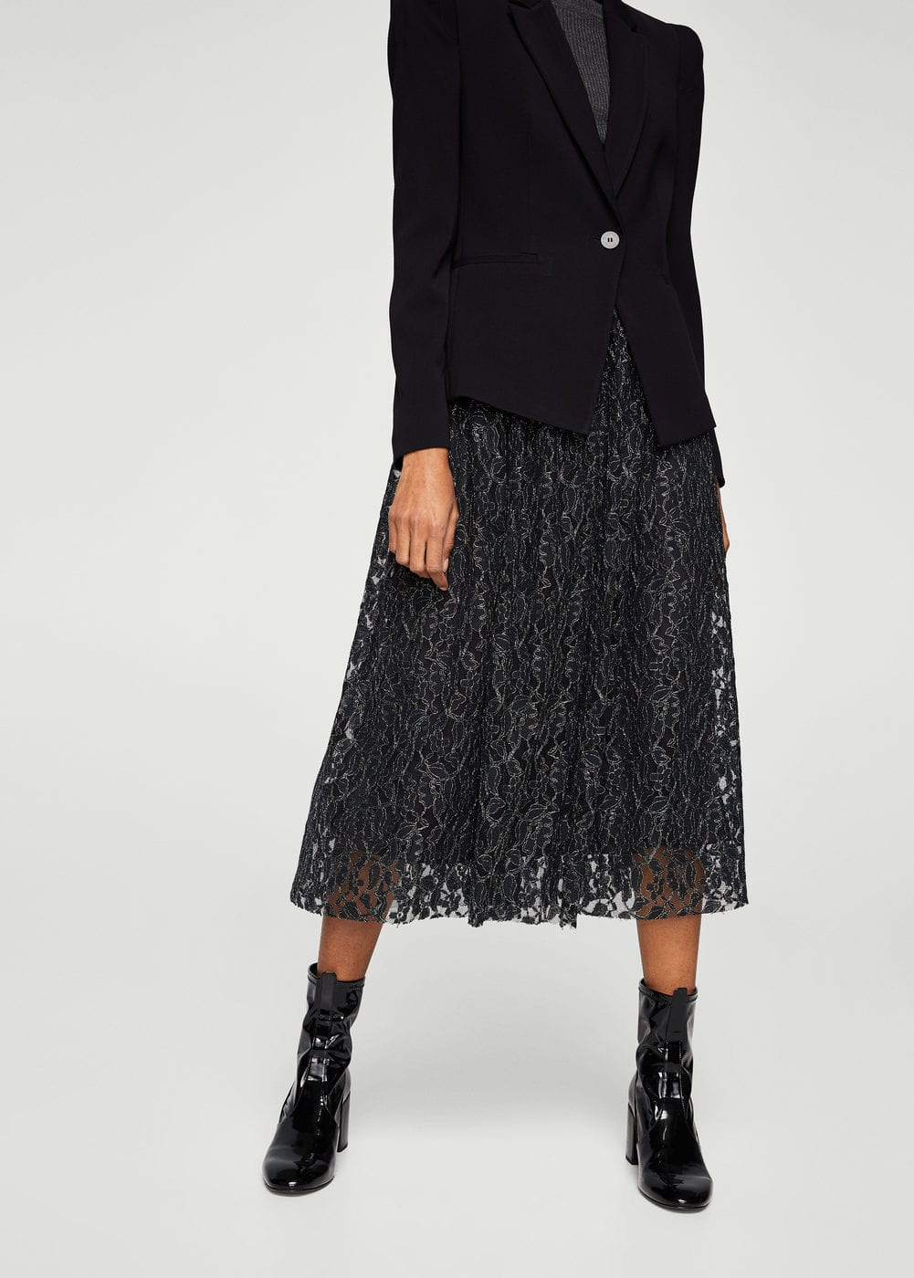 Metal thread lace skirt | MANGO