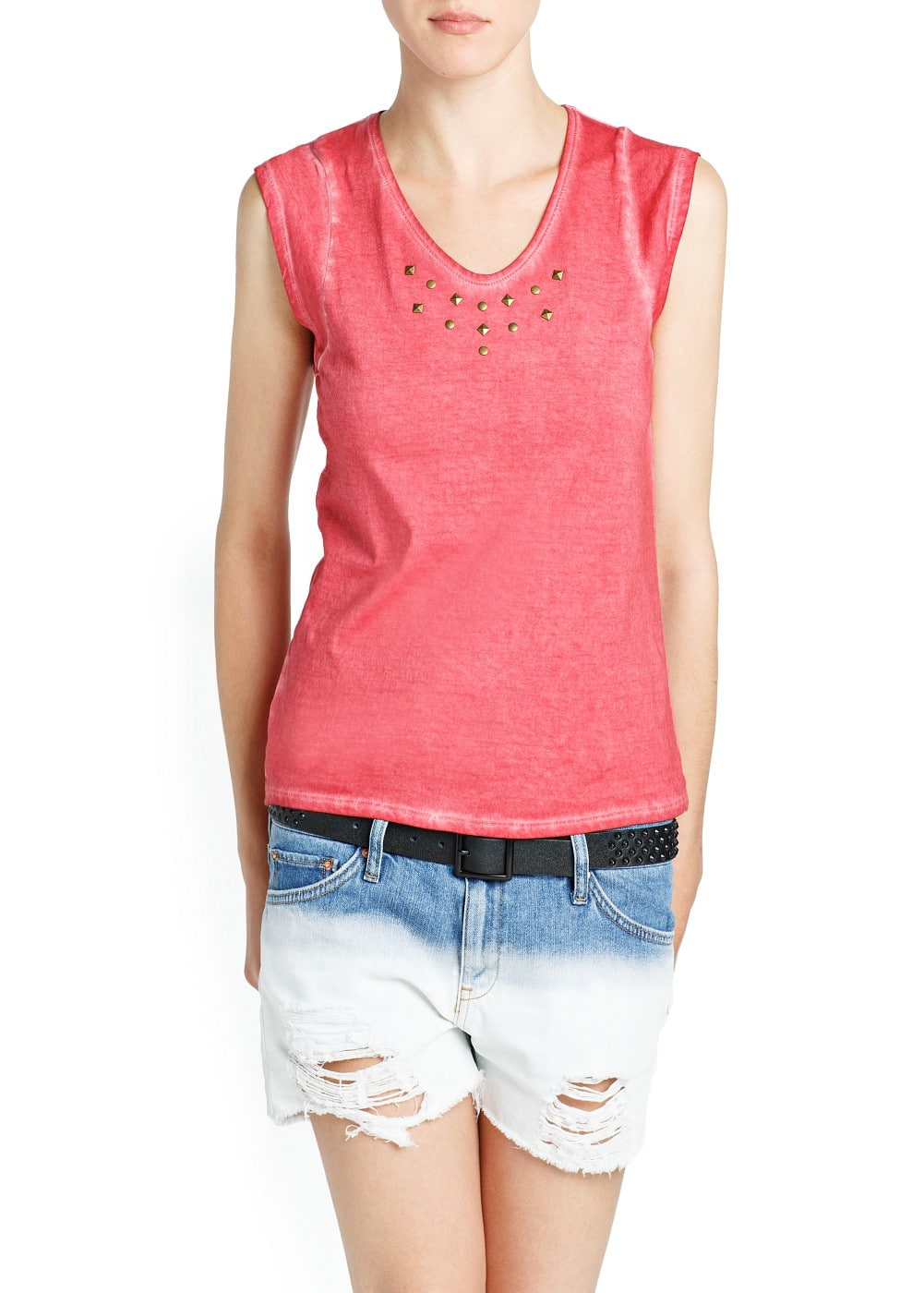 Studded cotton t-shirt | MANGO