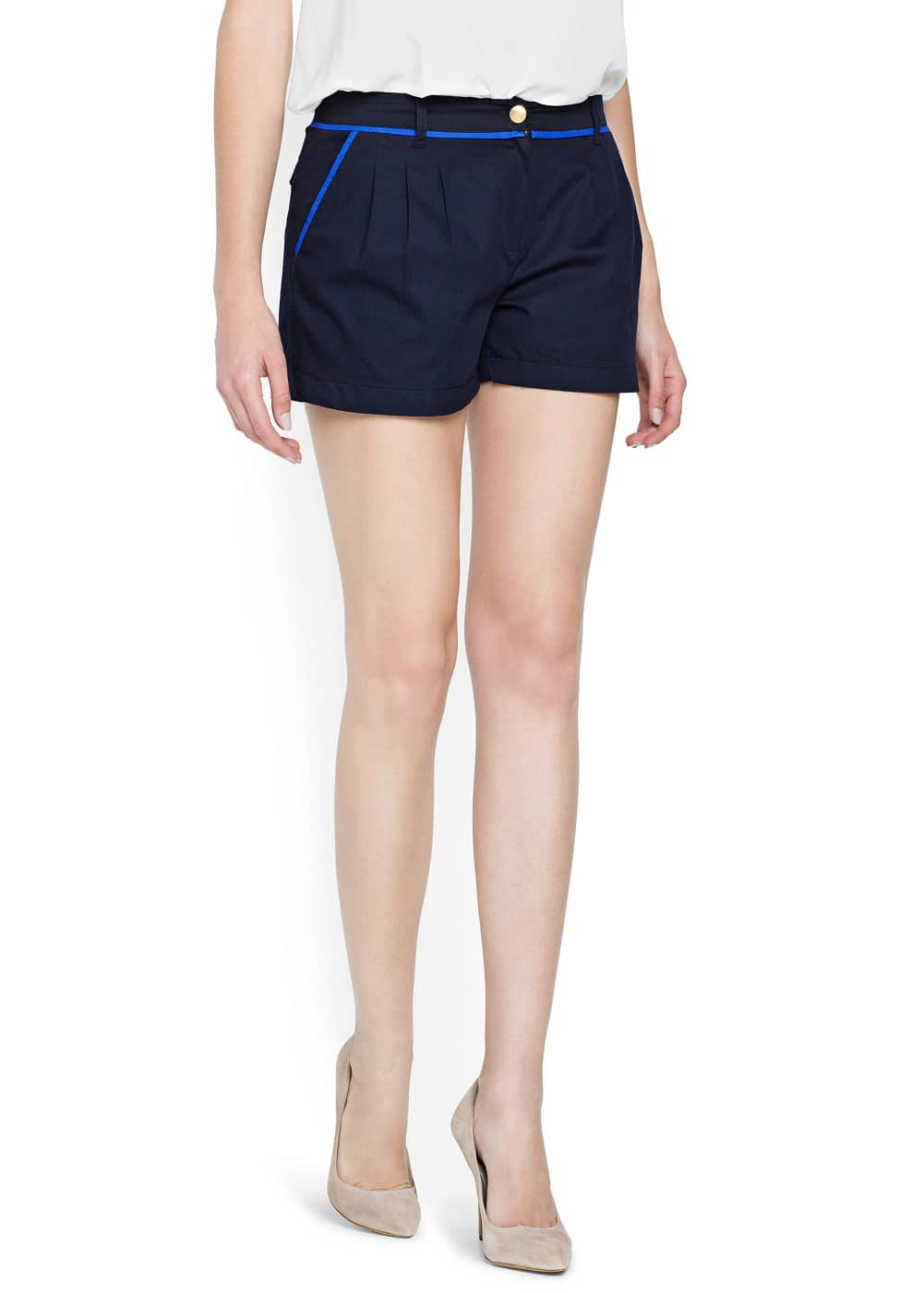 Contrasted trimming cotton shorts | MNG