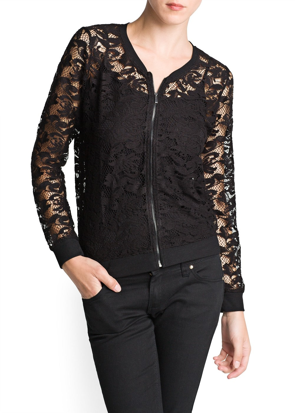 Zipped lace jacket | MANGO