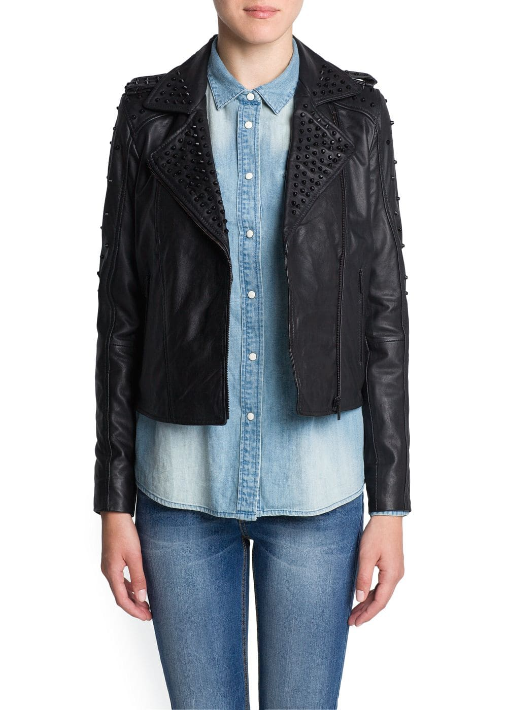 Studded leather biker jacket | MANGO