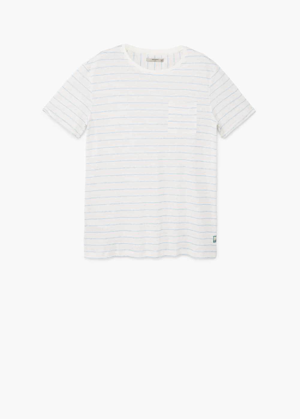 Striped linen-blend t-shirt | MANGO MAN