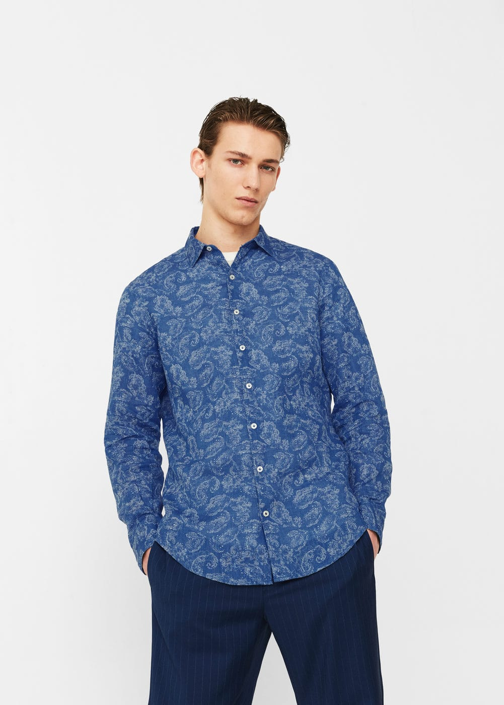 Camisa slim-fit estampada lino | MANGO