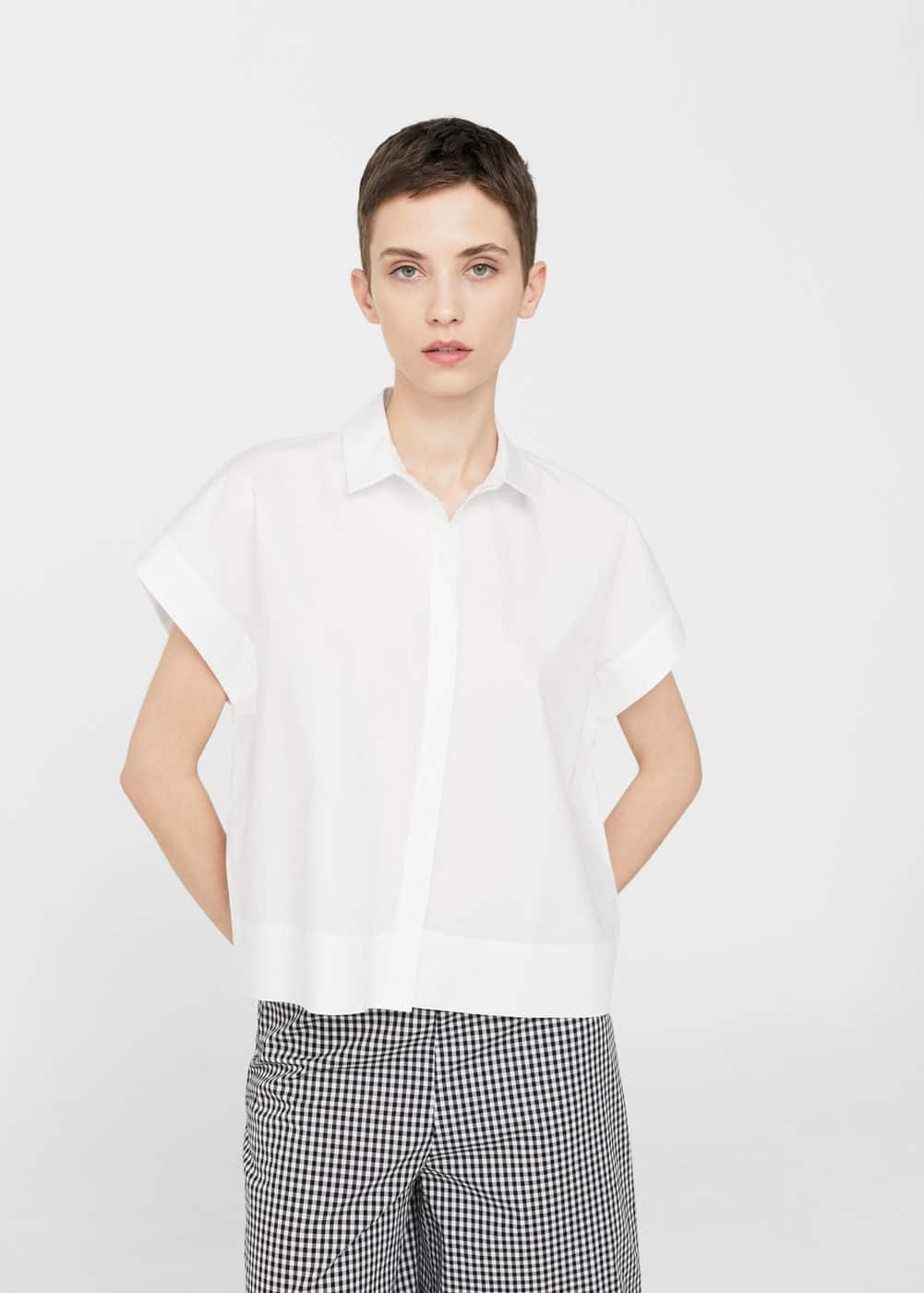 Short sleeved cotton shirt | MANGO