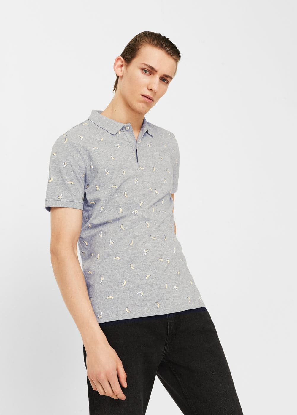 Printed cotton piqué polo shirt | MANGO MAN