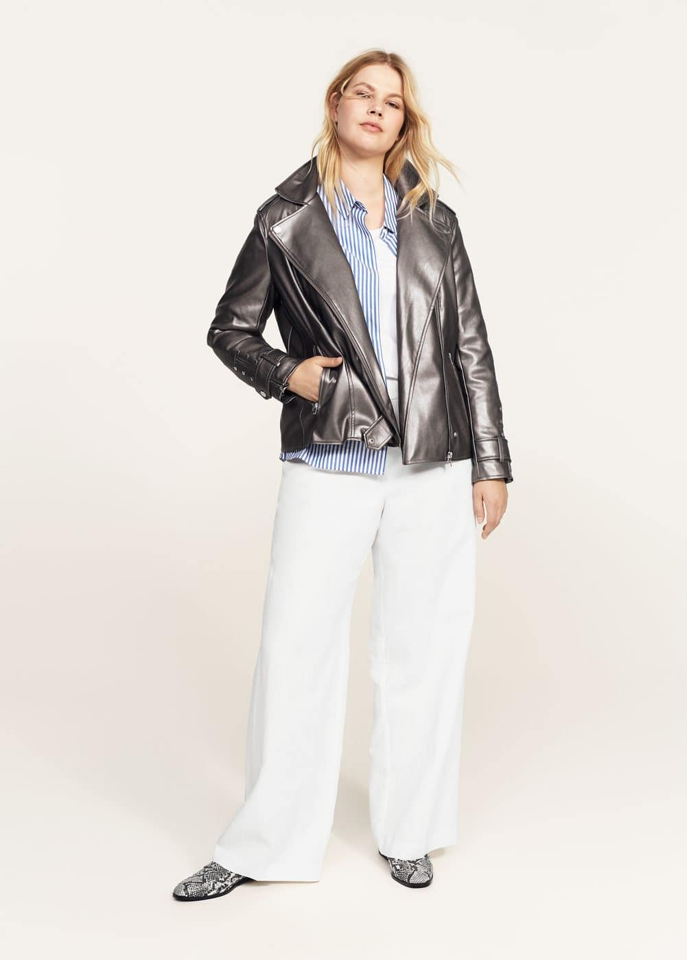 Metallic biker jacket | VIOLETA BY MANGO
