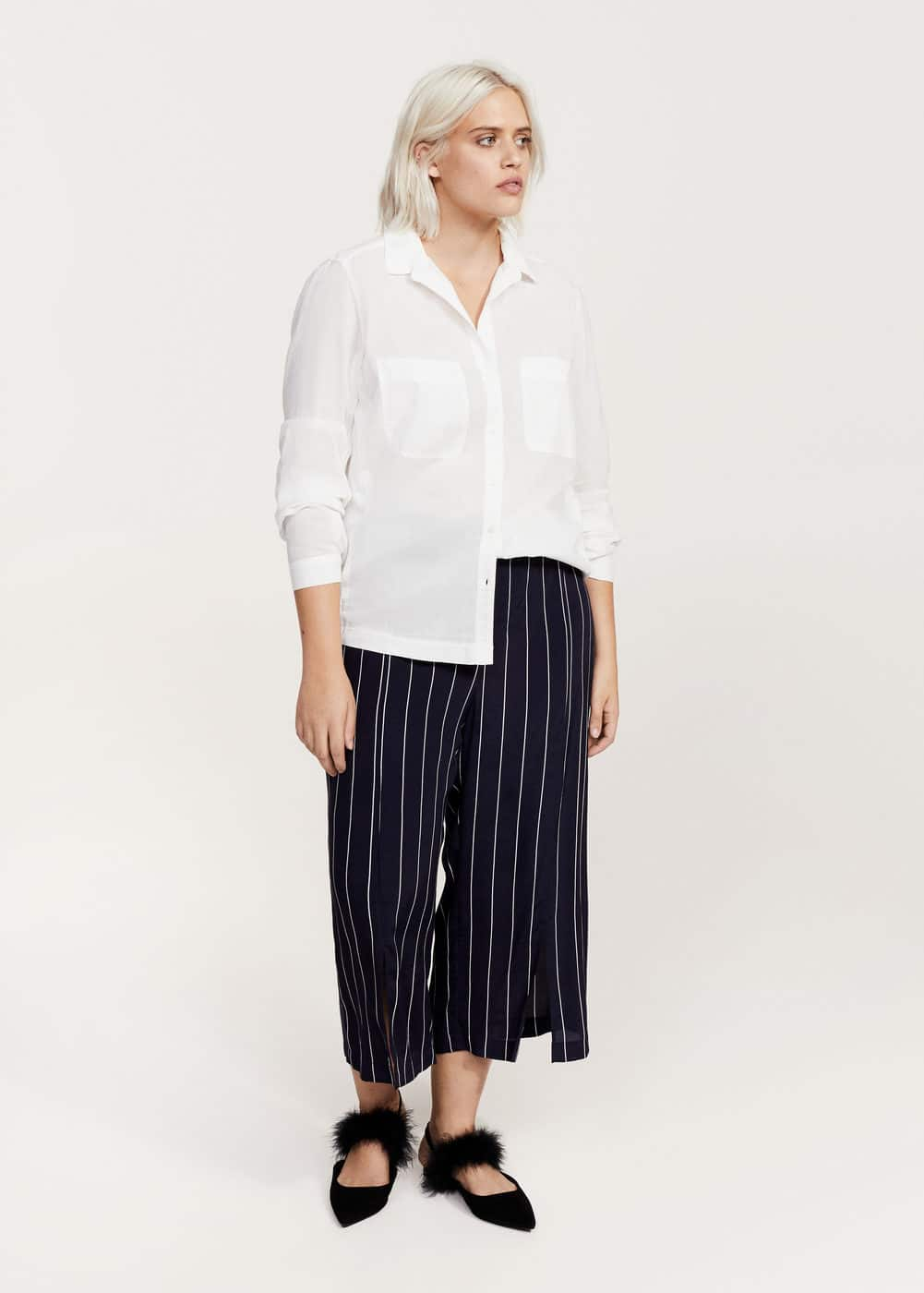 Ribbed panel shirt | VIOLETA BY MANGO