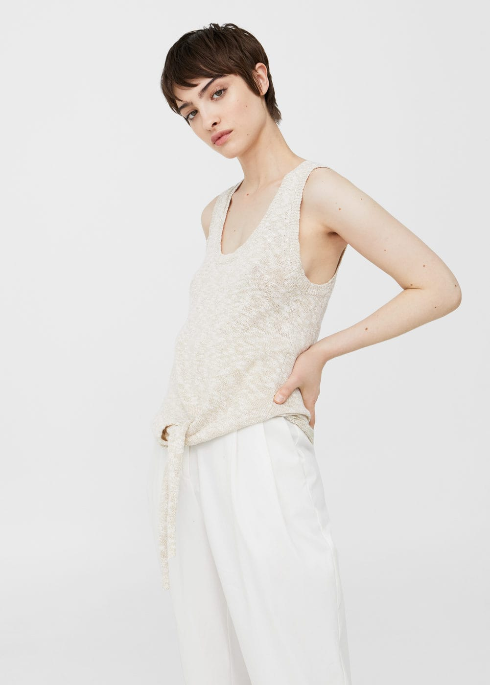 Knotted-hem cotton top | MANGO