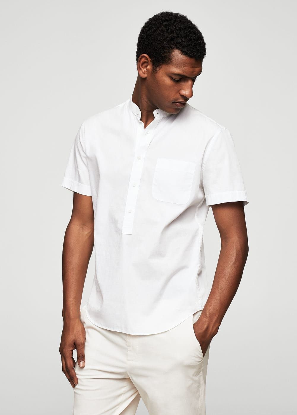 Regular-fit mao collar cotton shirt | MANGO MAN