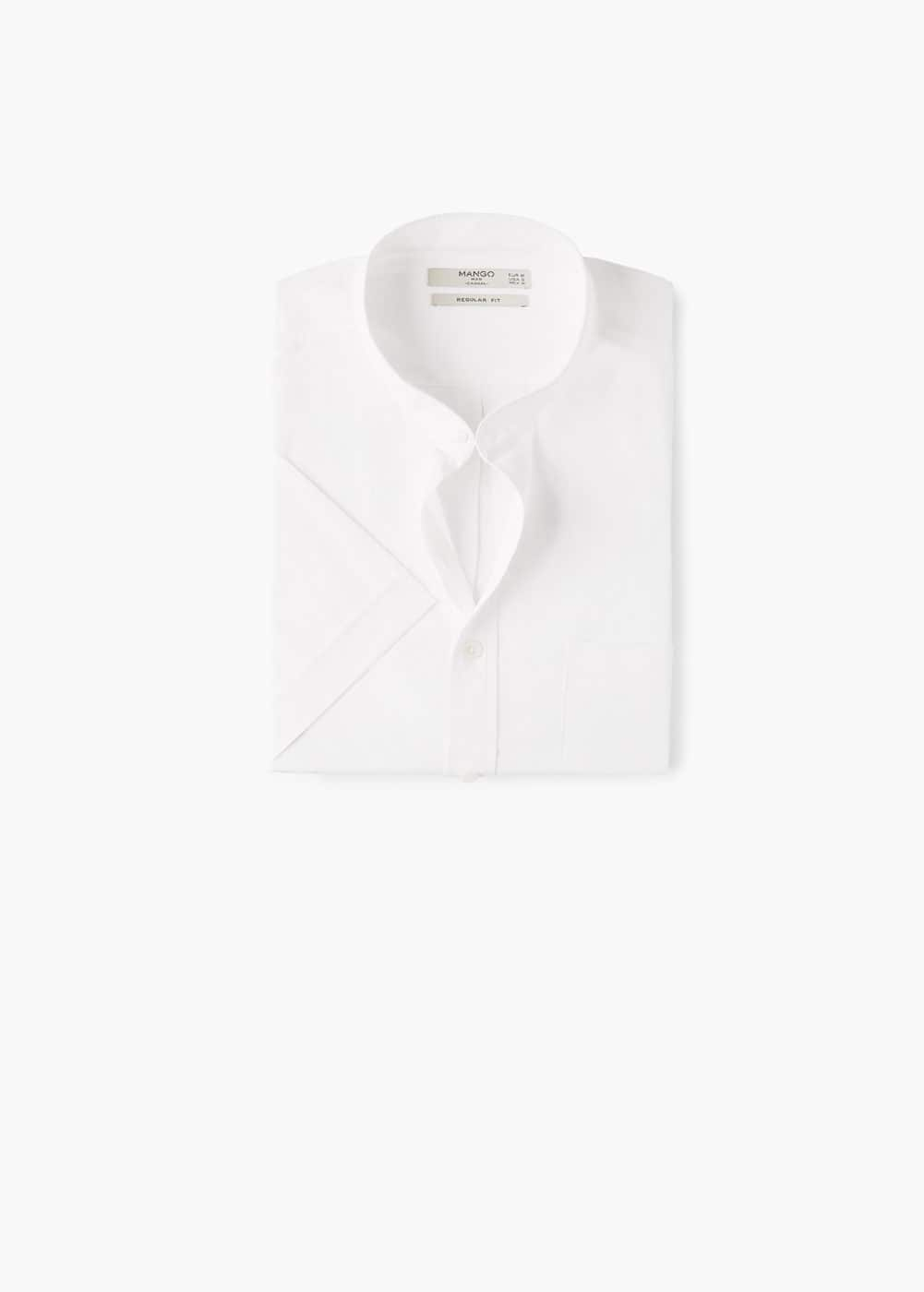Regular-fit mao collar cotton shirt | MANGO