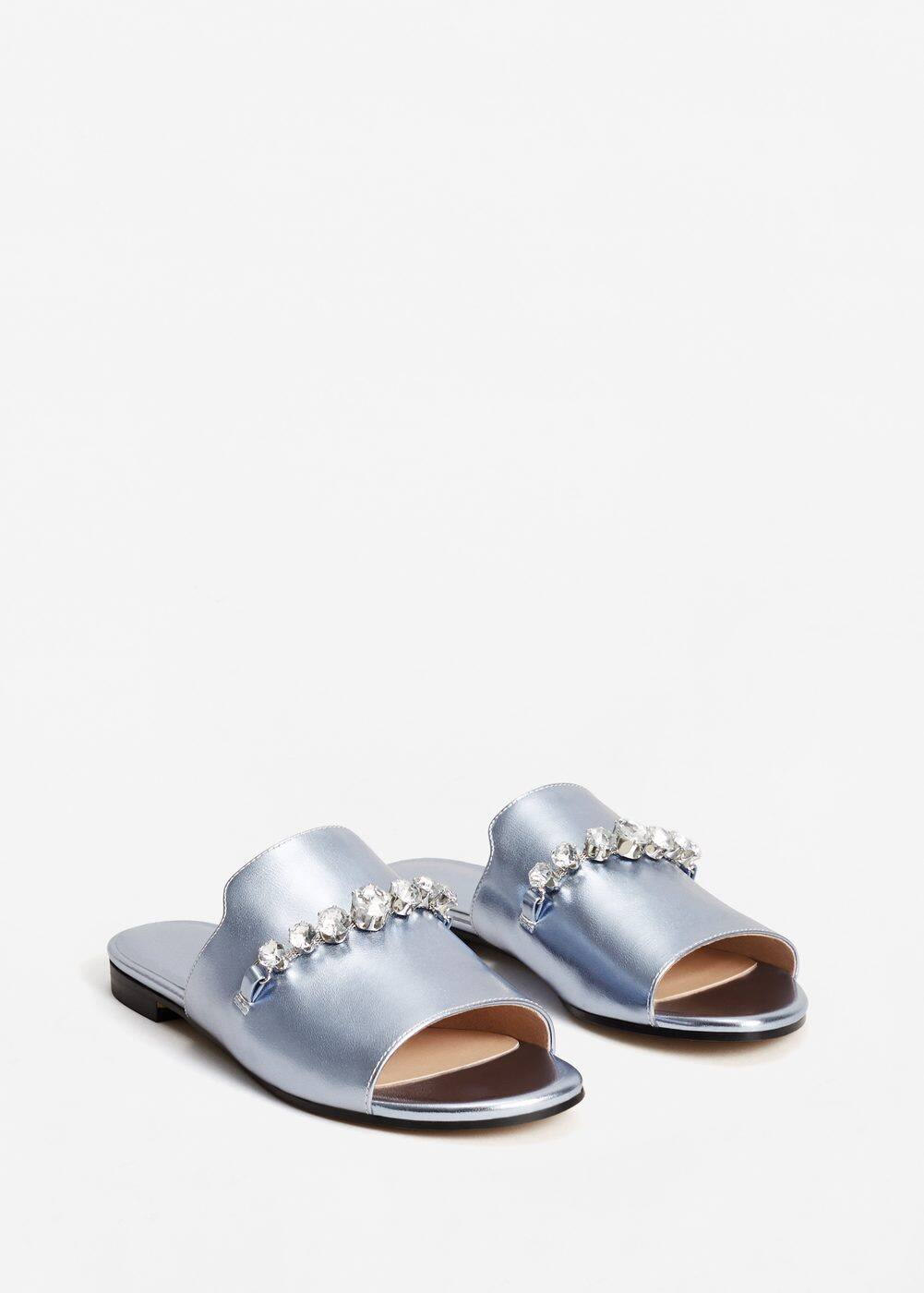 Crystal metallic sandals | MNG