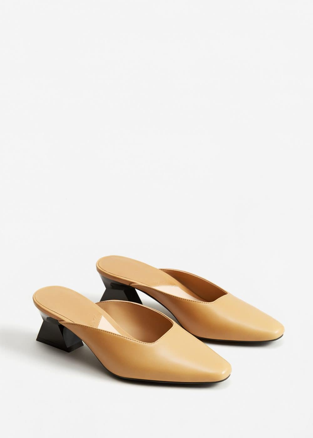 Geometric leather shoes | MANGO