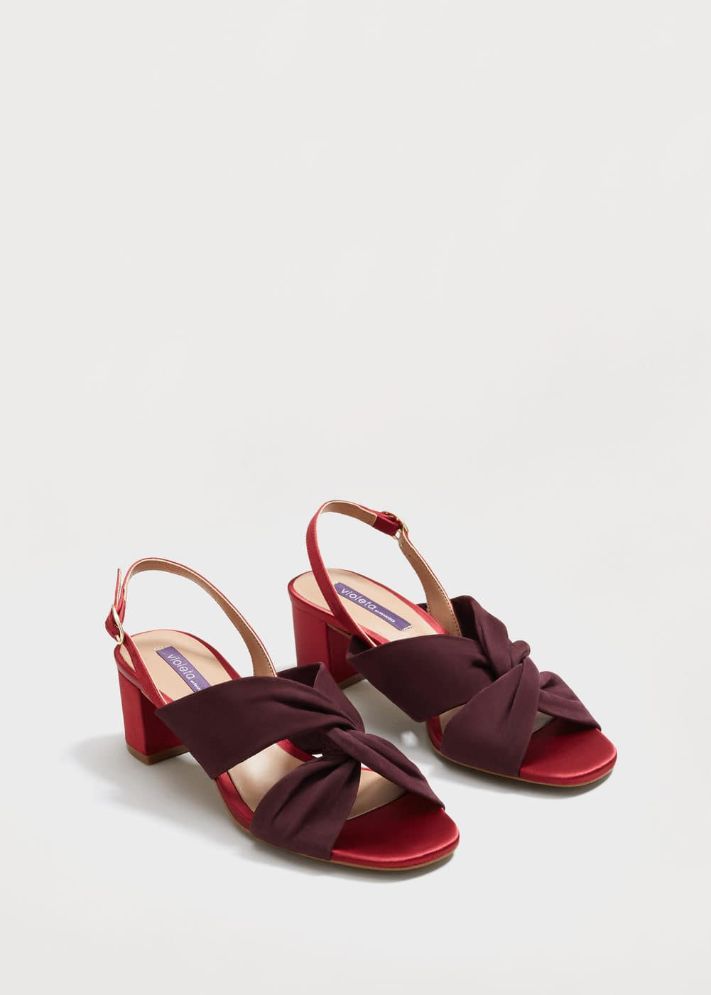Satin leather sandals | VIOLETA BY MANGO