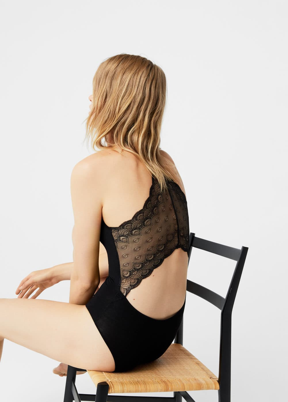 Lace panel bodysuit | MANGO