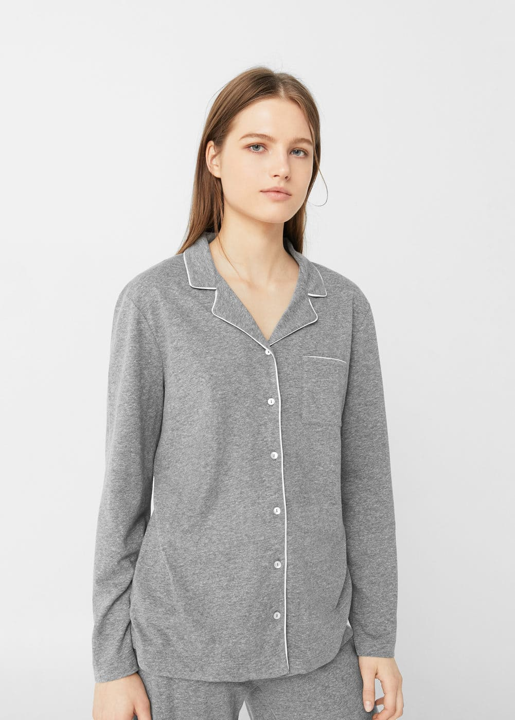 Flecked cotton shirt | MANGO