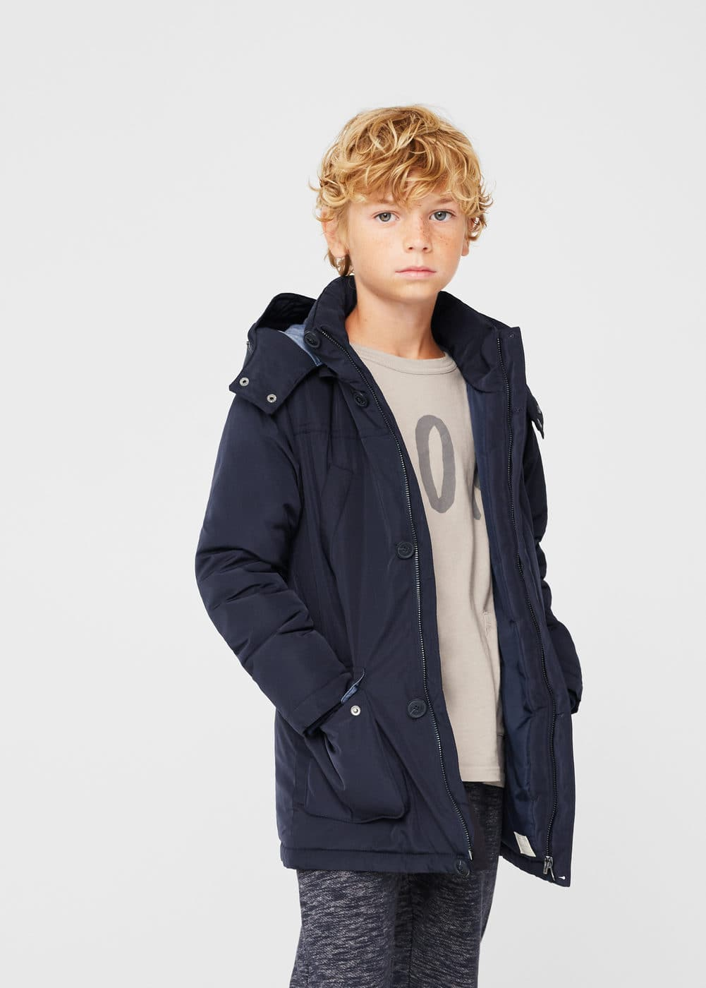 Detachable hood coat | MANGO