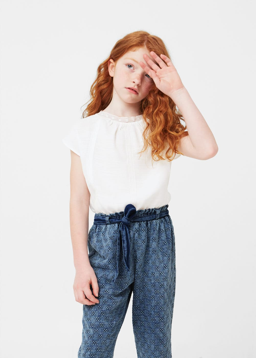 Textured cotton trousers | MANGO KIDS