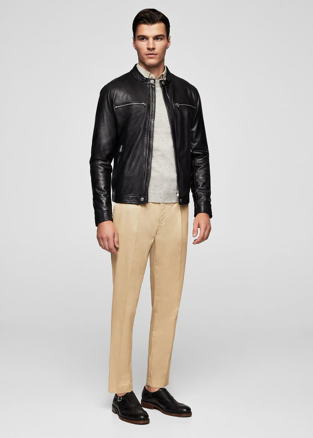 Zip-detail leather biker jacket | MANGO MAN