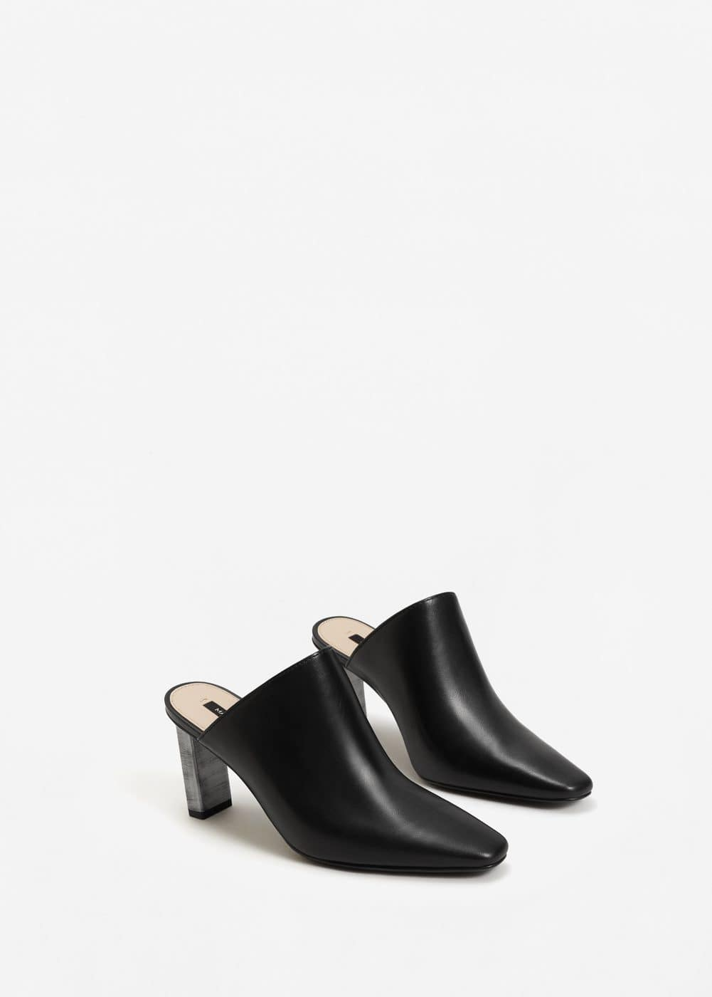 Metal heel leather mules | MANGO