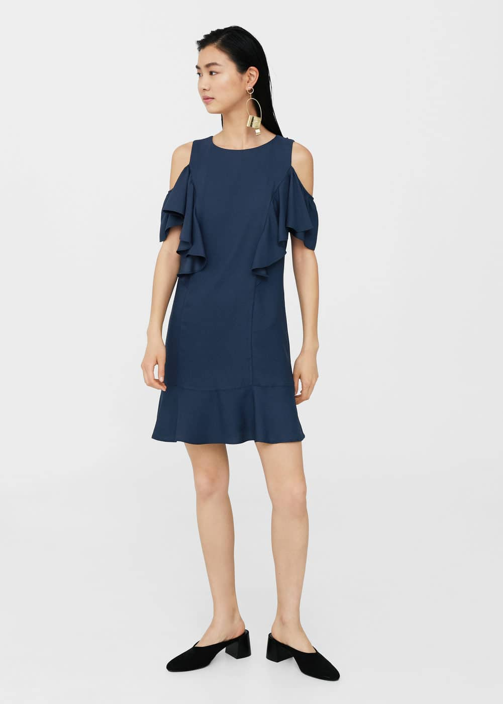 Ruffles cold-shoulder dress | MANGO