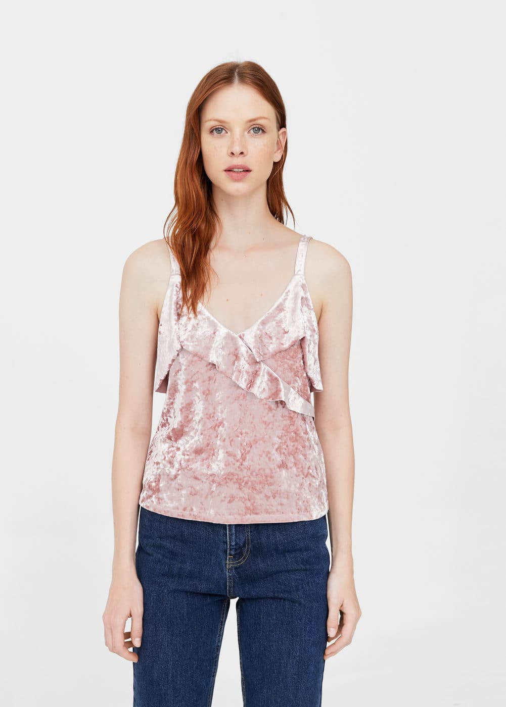 Ruffled velvet top | MANGO