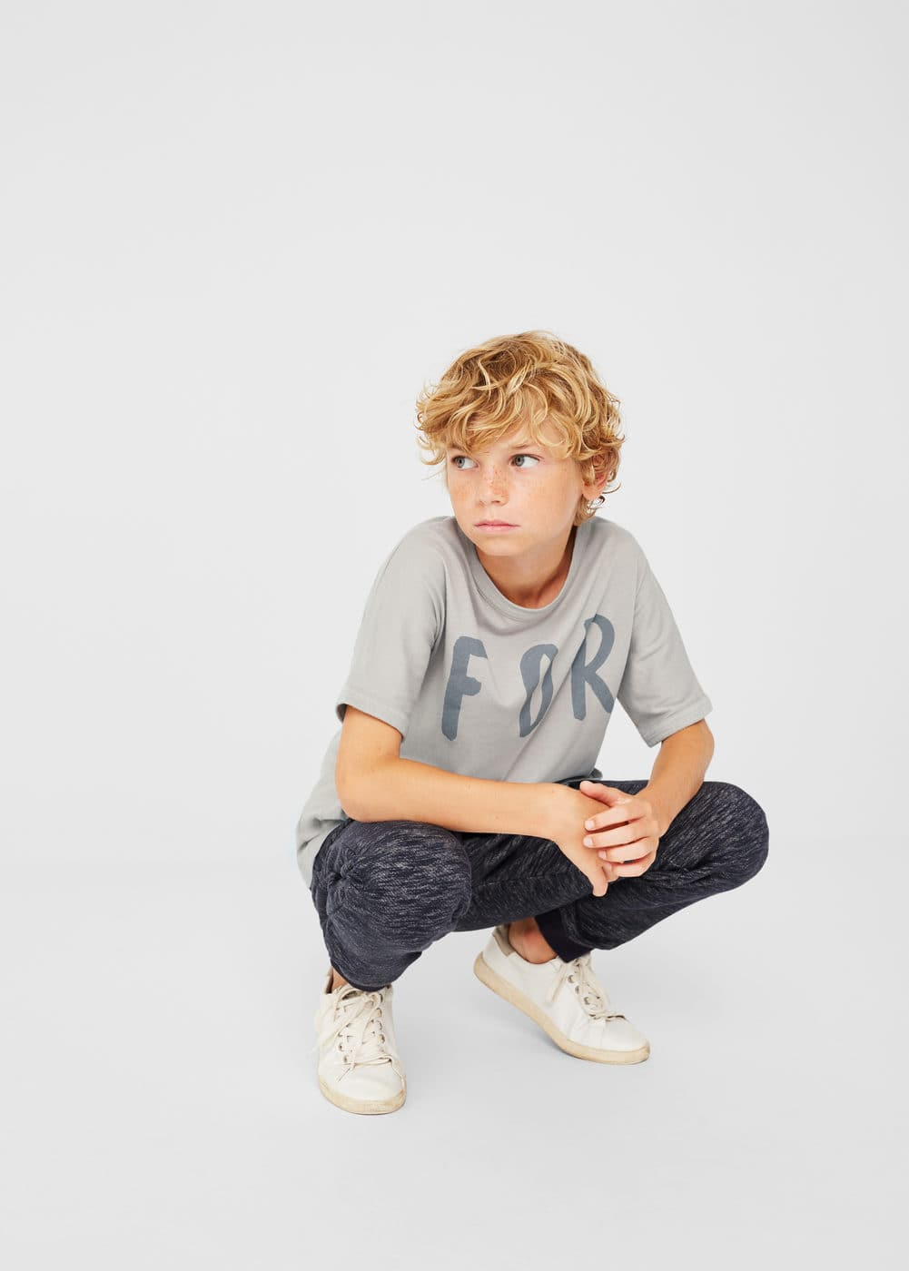 Message cotton t-shirt | MANGO KIDS