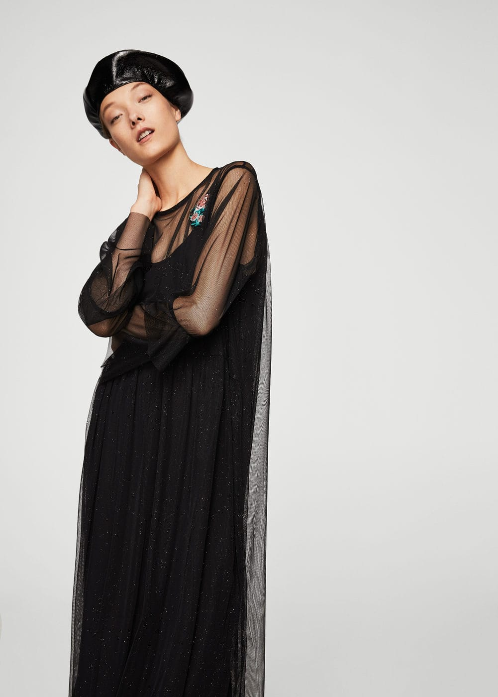 Robe empiècements tulle | MANGO