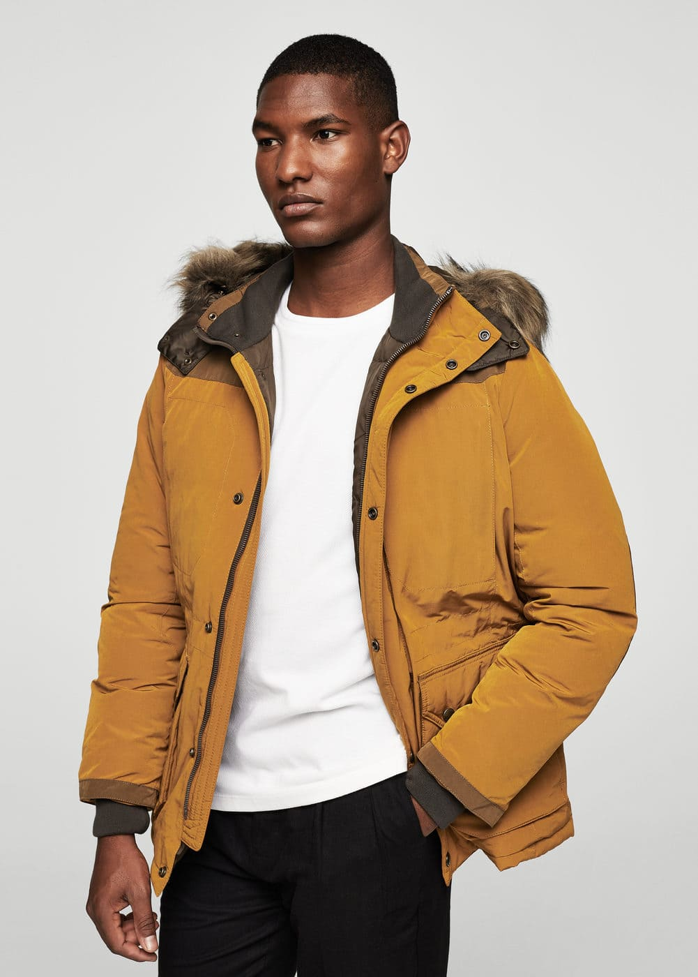 Faux fur hood coat | MANGO MAN