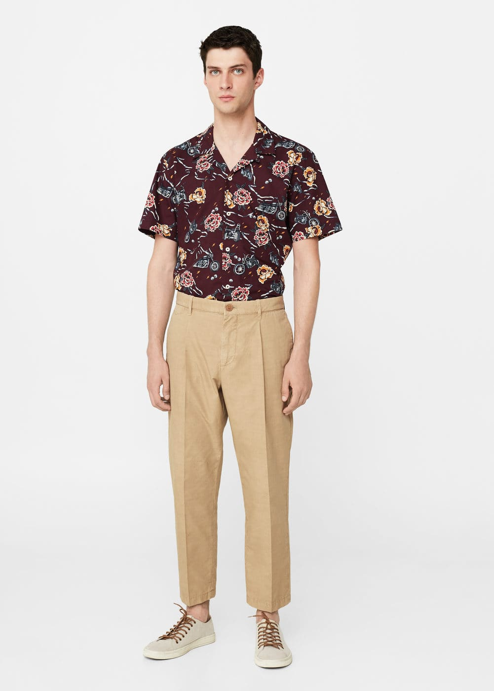 Pleated crop chinos | MANGO MAN