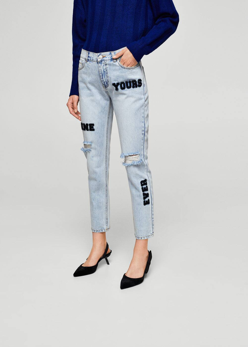 Faux-fur patches straight jeans | MANGO