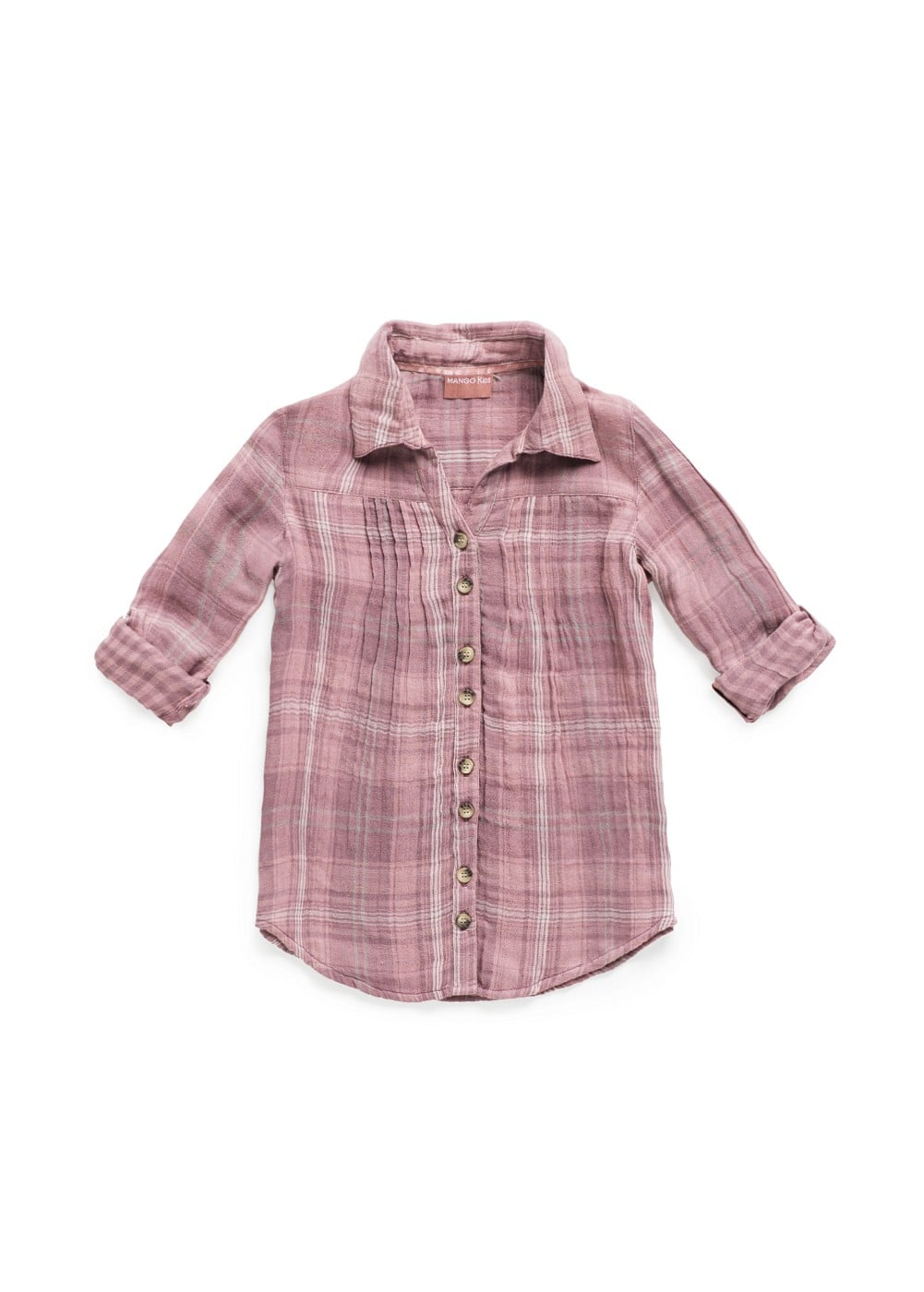 Checked long sleeved shirt | MANGO