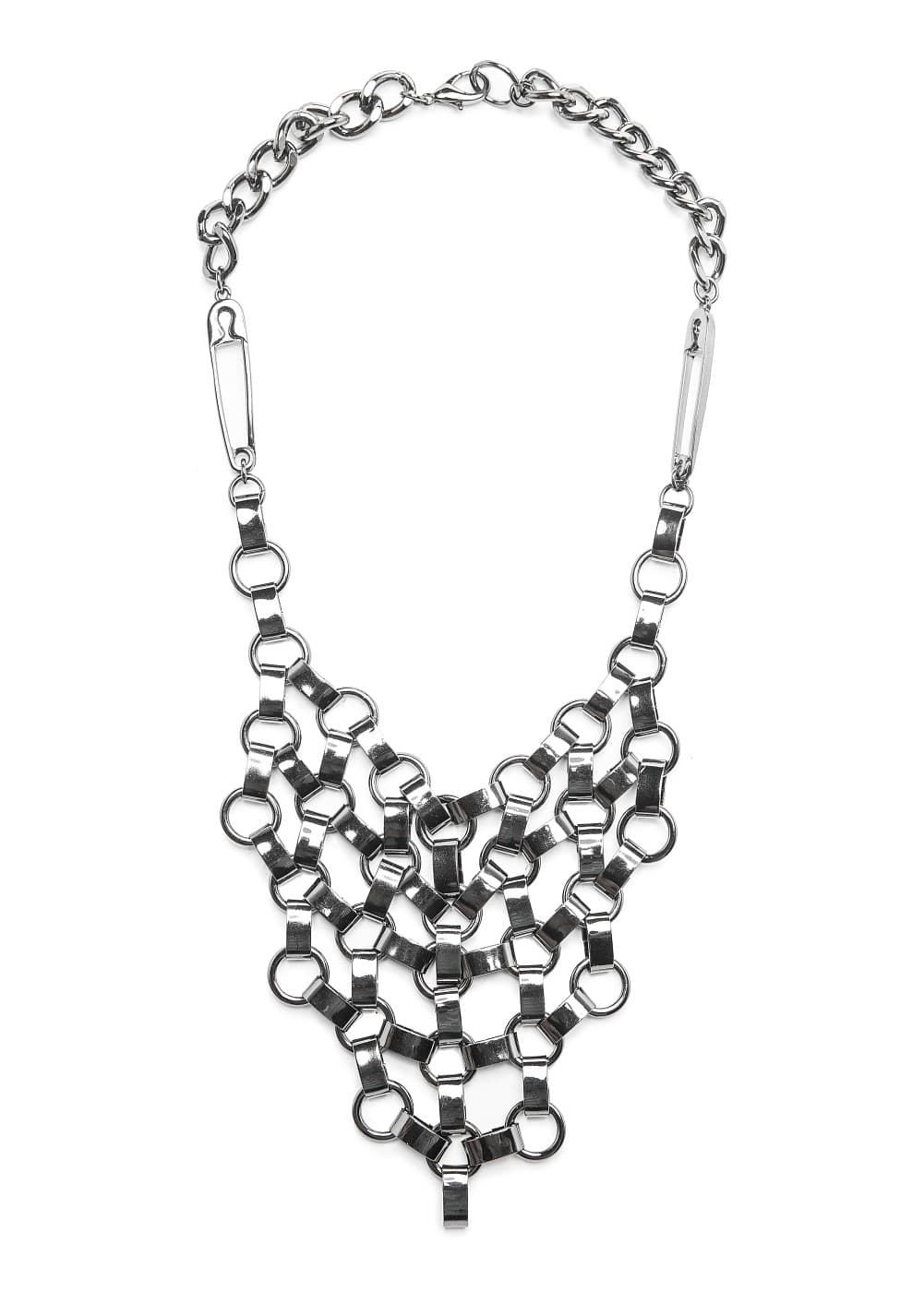 Safety pin detail bib necklace | MANGO