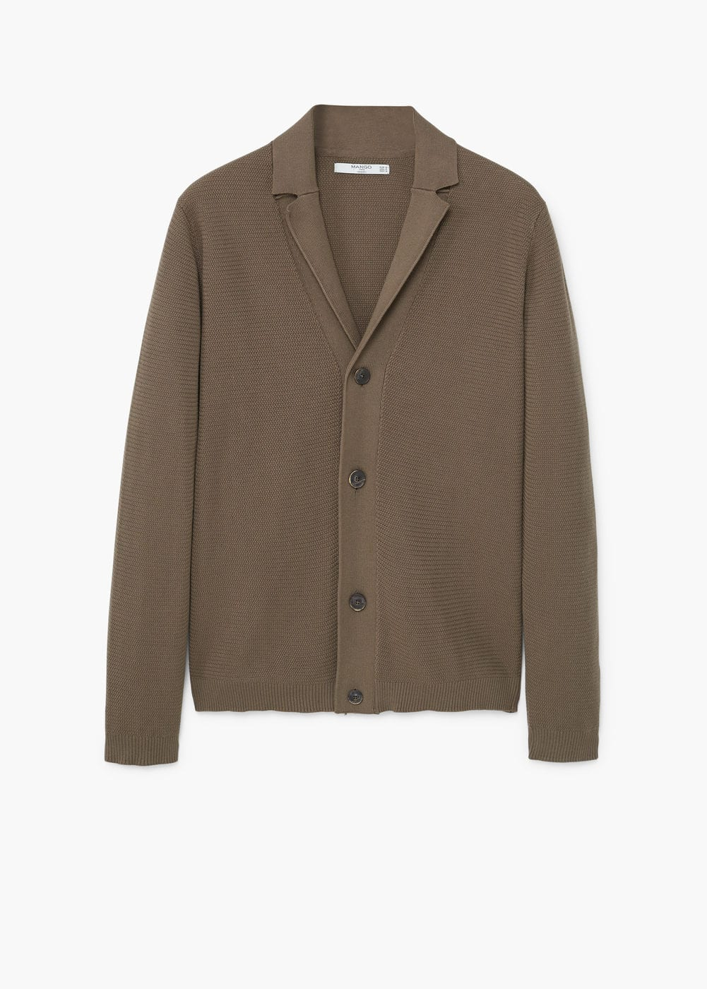 Lapel cotton cardigan | MANGO MAN