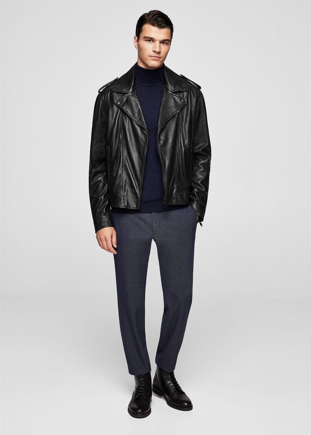 Zip-detail leather biker jacket | MANGO