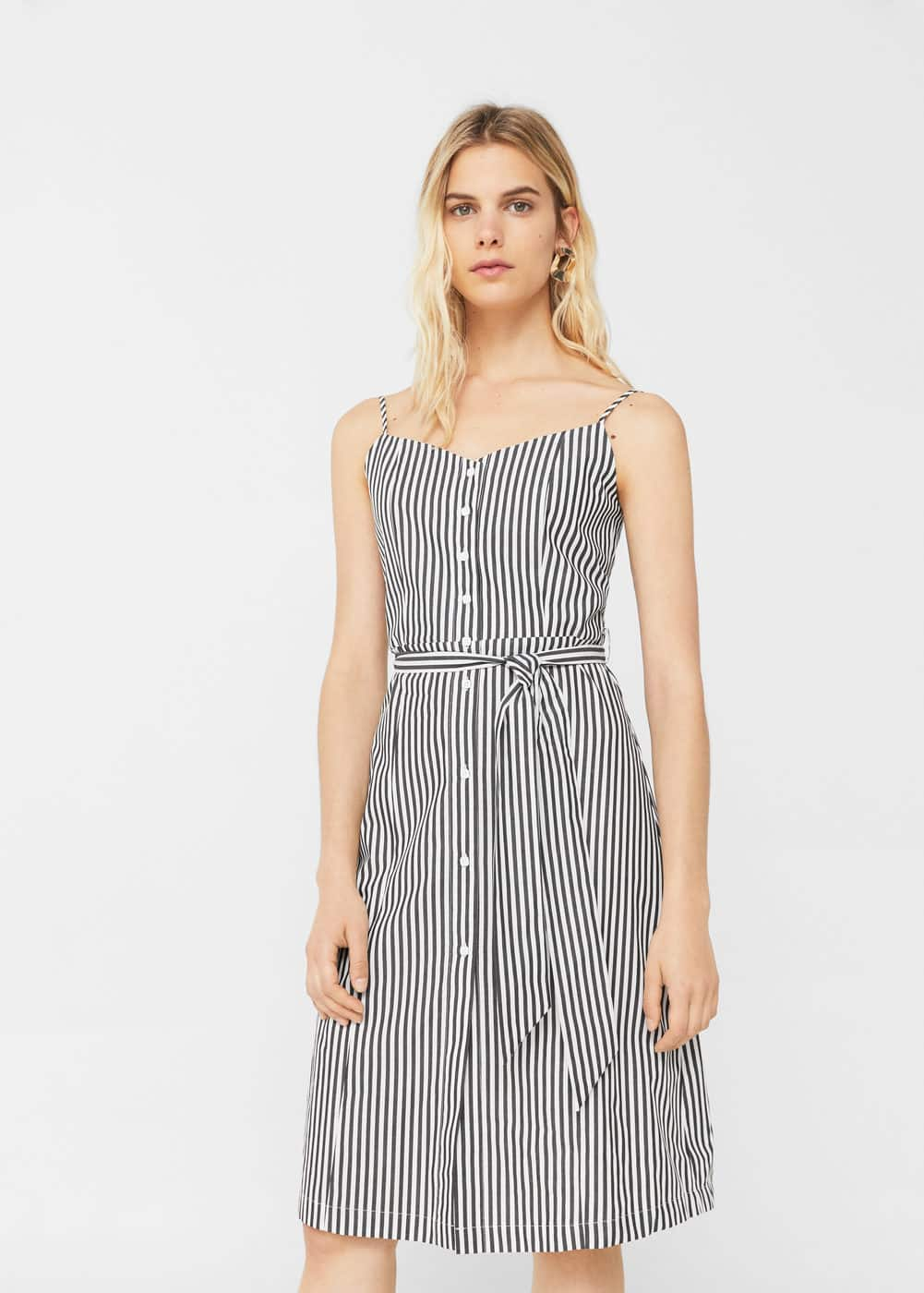 Striped poplin dress | MANGO