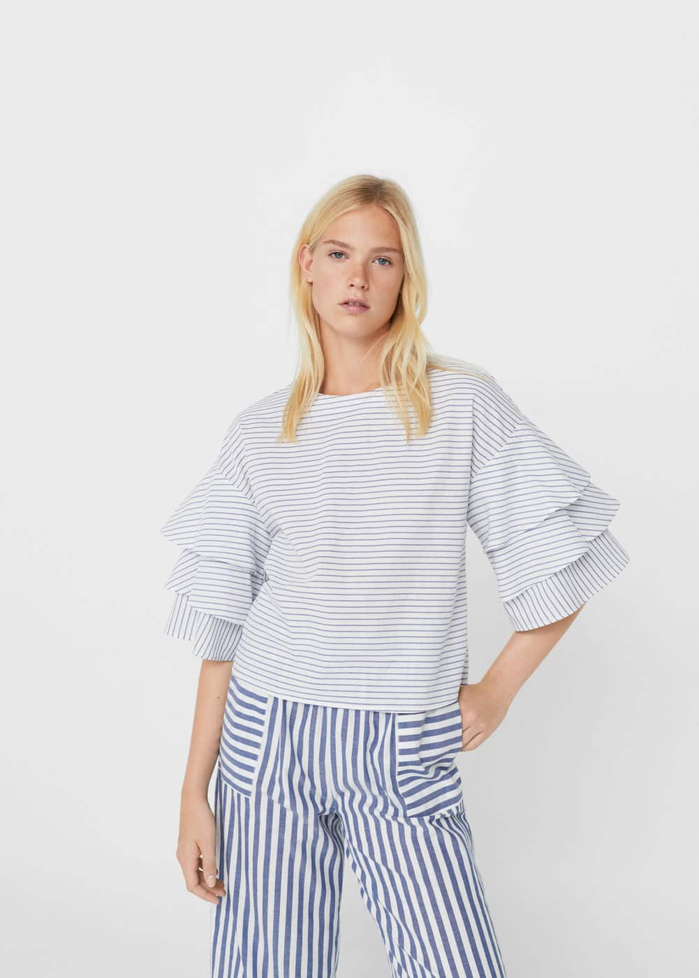 Striped ruffled blouse | MANGO