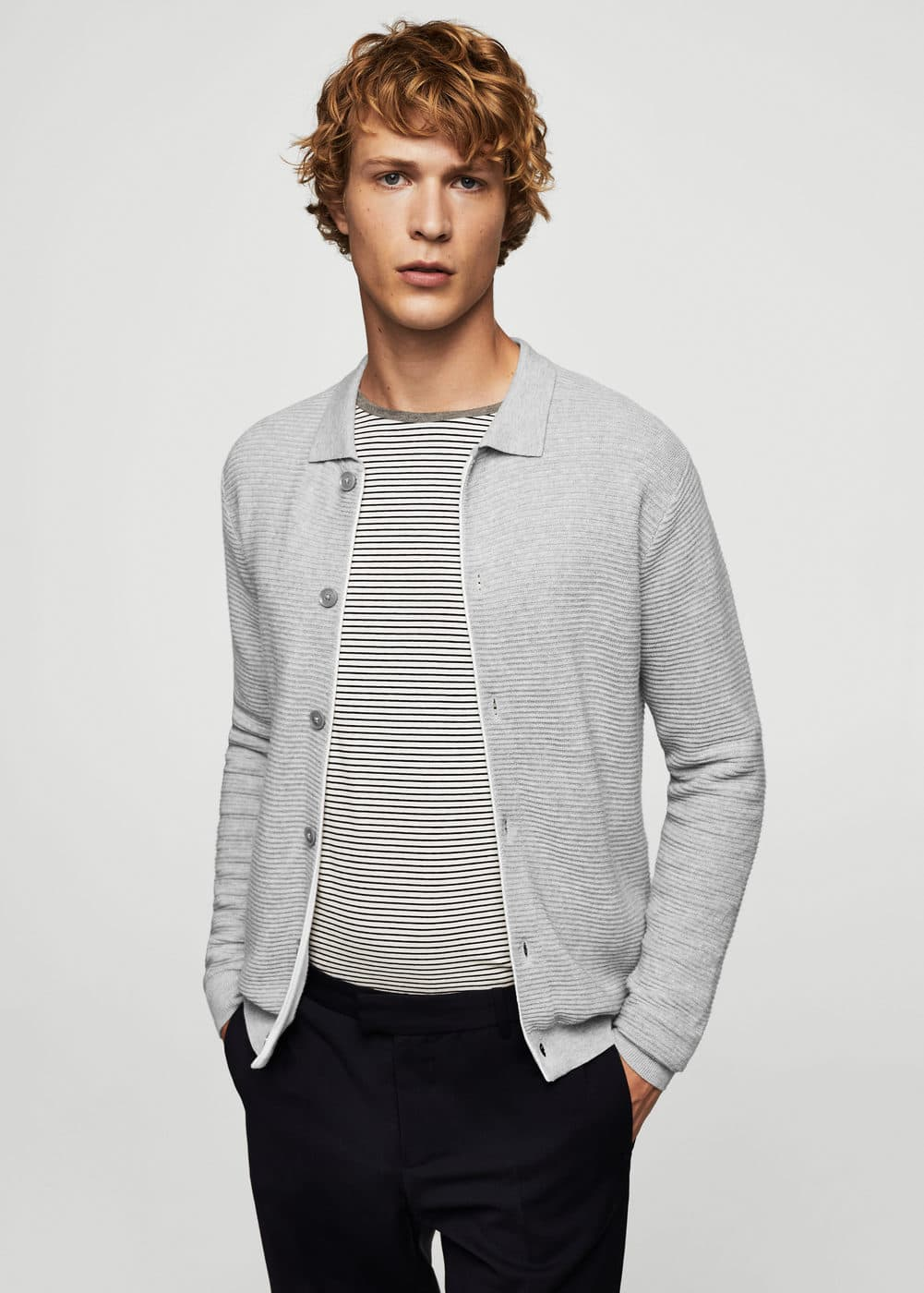 Textured cotton cardigan | MANGO