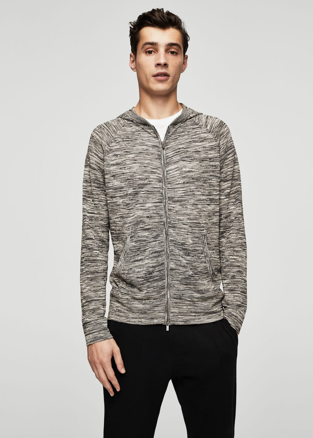 Flecked cotton-blend jacket | MANGO MAN