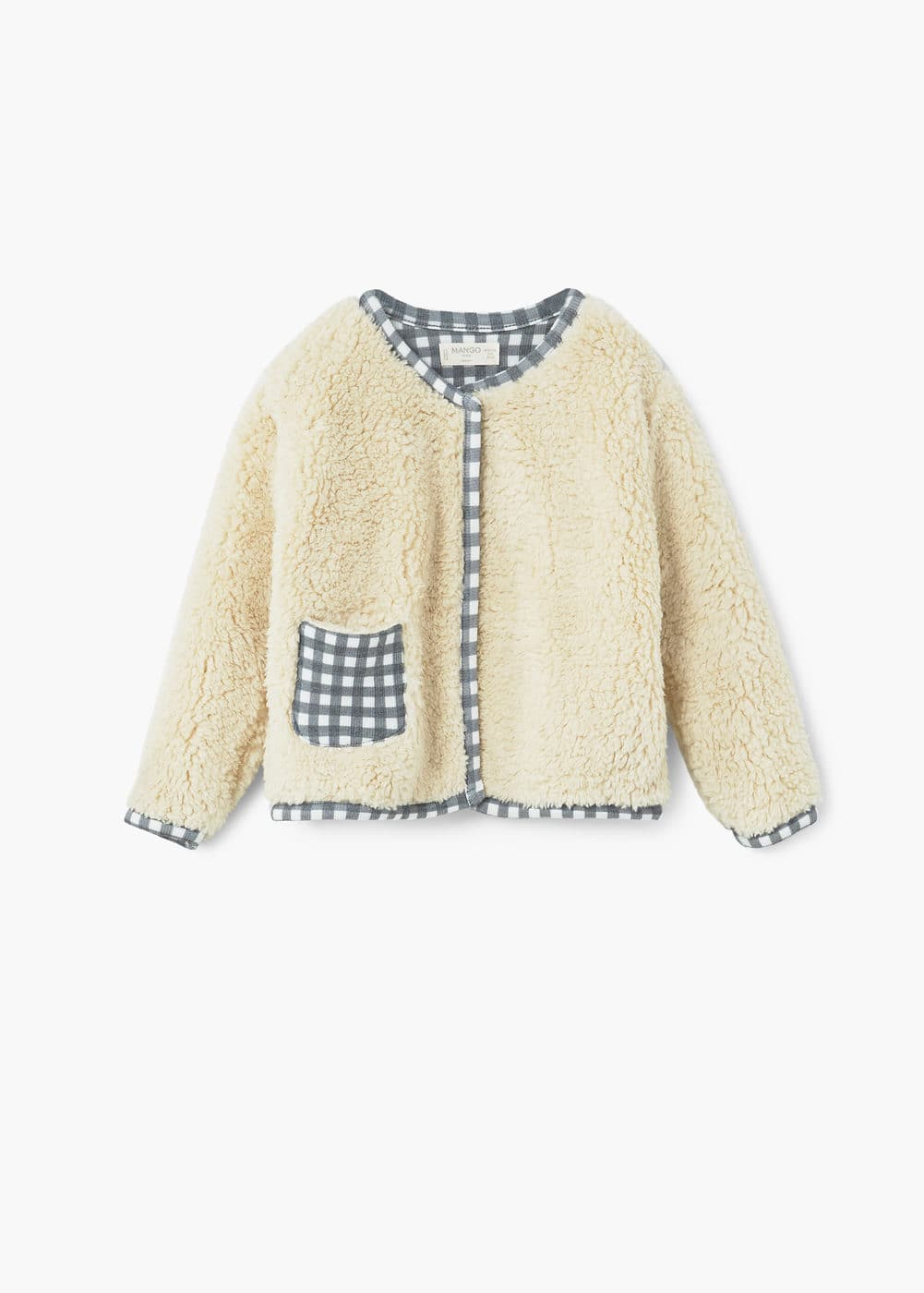 Faux shearling checkered jacket | MANGO