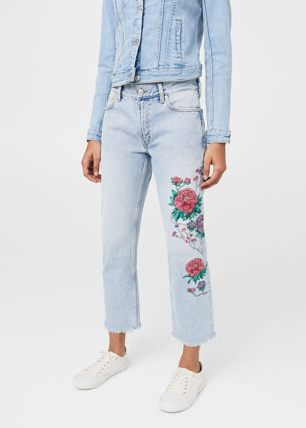 Dalia embroidered straight jeans | MANGO