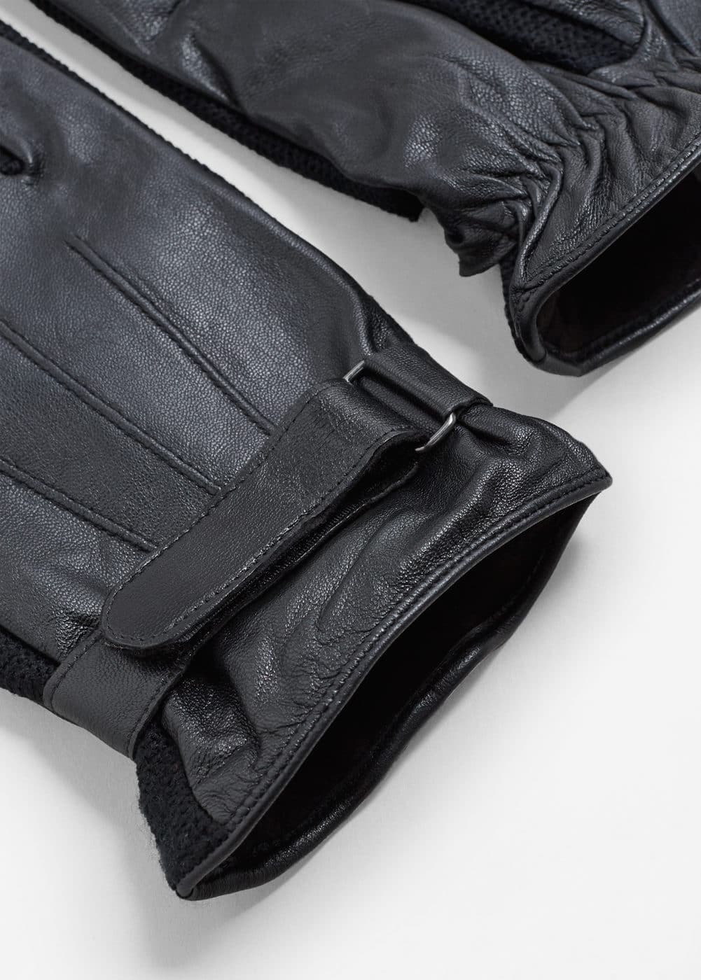 Combined leather glove | MANGO