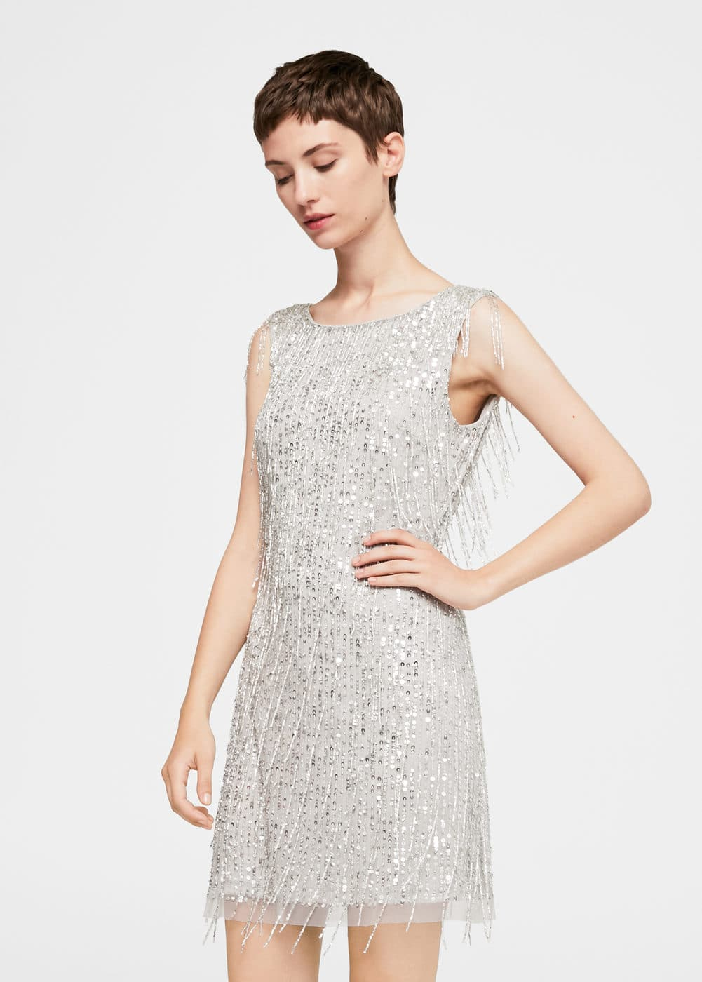 Sequin beaded dress | MANGO