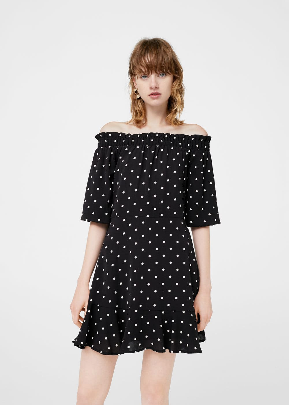 Off-shoulder polka-dot dress | MANGO