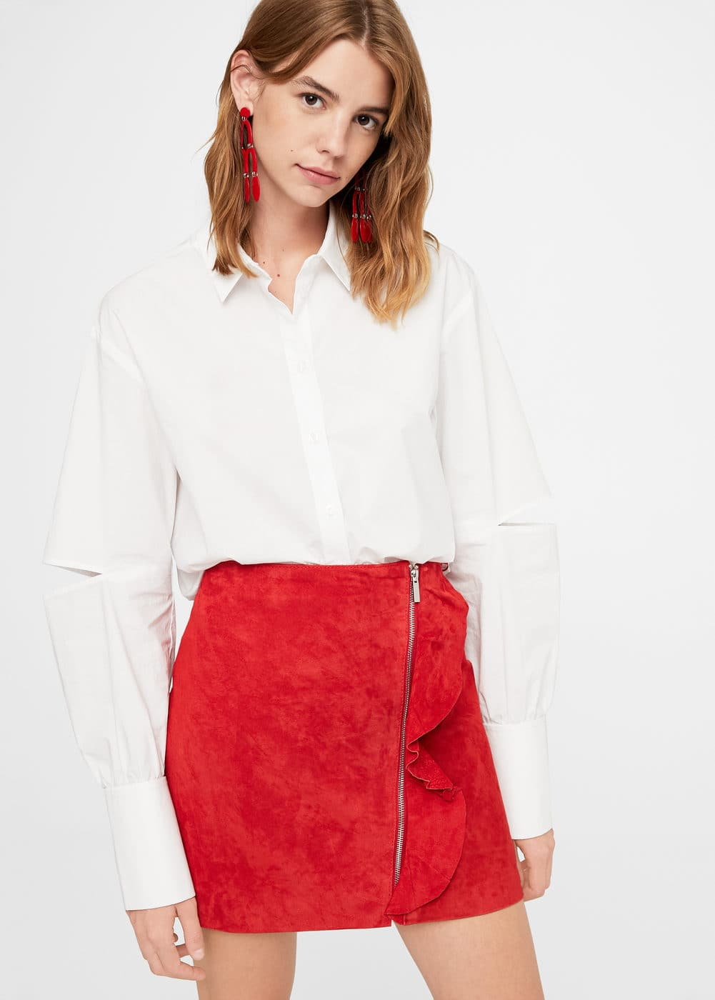 Ruffled leather skirt | MANGO