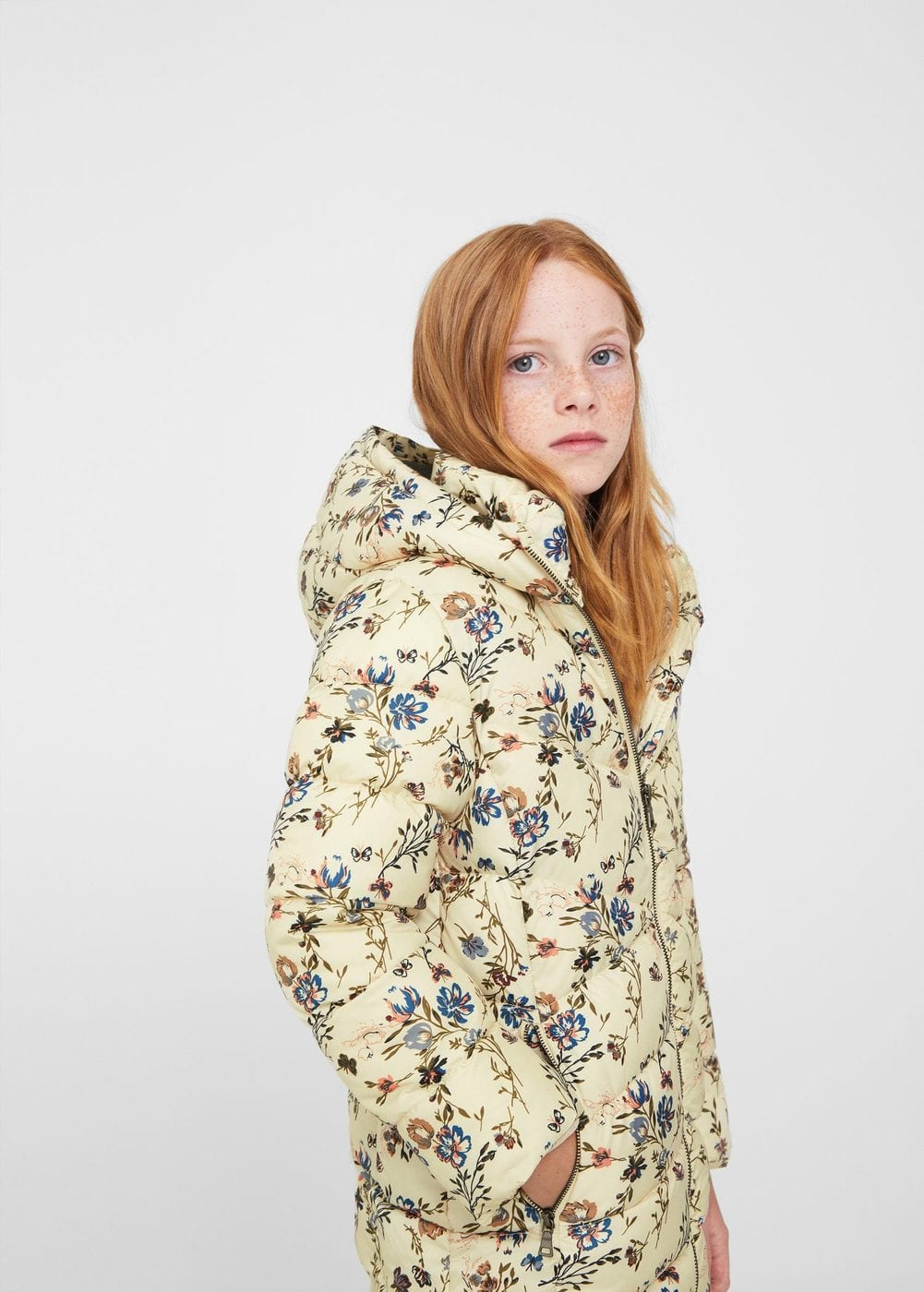 Printed quilted coat | MANGO