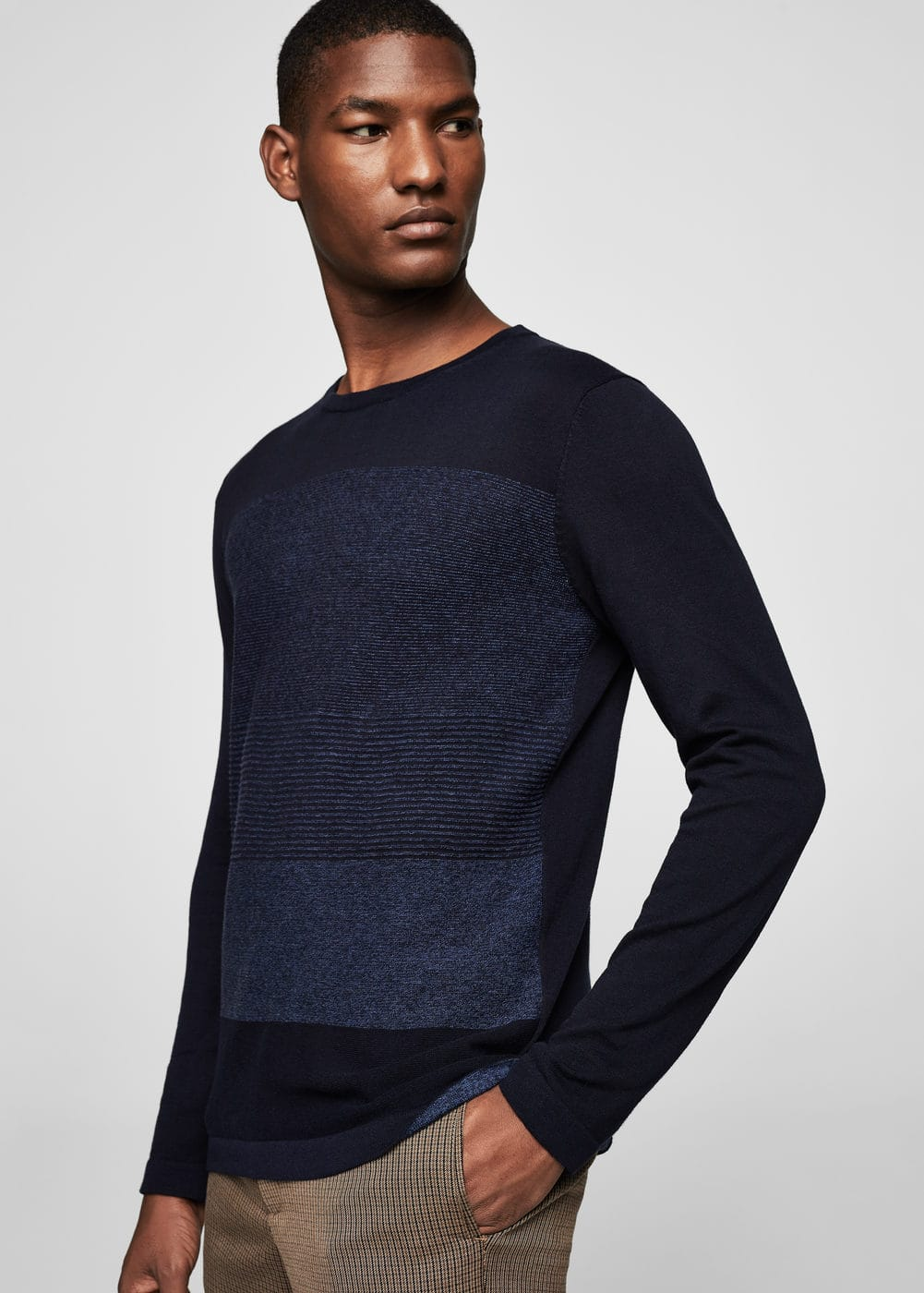 Striped front cotton-blend sweater | MANGO
